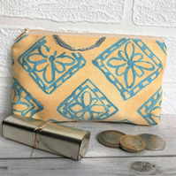 Large purse, coin purse in golden yellow with turquoise flower pattern