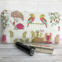Tropical animals cosmetic bag, make up bag with brightly coloured animals