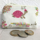 Small purse, coin purse with pink tortoise print