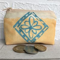 SALE, Small purse, coin purse in golden yellow with turquoise flower