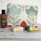 Cream toiletry bag, wash bag with textured stylised tulips