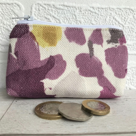 Small purse, coin purse in white with purple and golden yellow blotches