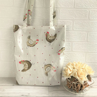 Chickens tote bag in cream oilcloth with chickens and red polka dots pattern