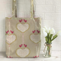 Shabby chic oilcloth tote bag with white hearts and pink birds