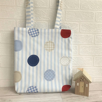 Stripes and circles tote bag in nautical colours