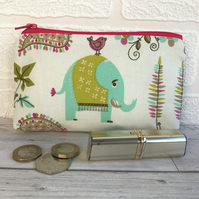 Large purse, coin purse with turquoise elephant and bright floral print