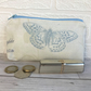 Large purse, coin purse in cream with pale blue butterfly