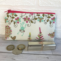 Large purse, coin purse with turquoise monkey and bright floral print