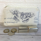 Large purse, coin purse in cream with dark blue butterfly