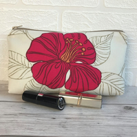 Cosmetic bag, make up bag in cream with magenta Hibiscus flower
