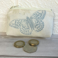 Small purse, coin purse in cream with pale blue butterfly