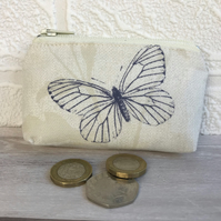 Small purse, coin purse in cream with large dark blue butterfly