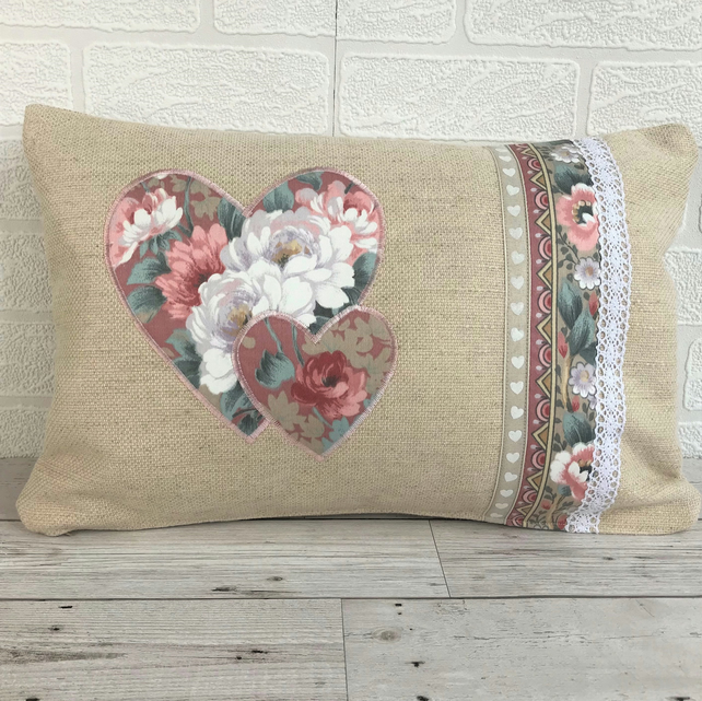Rectangular shabby chic cushion with hearts, ribbon and lace trim