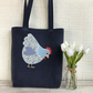 Chicken tote bag in dark blue with cream and blue floral and polka dot chicken