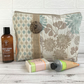 Cream toiletry bag, wash bag with textured patterns in duck egg blue and beige