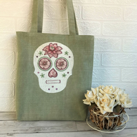 Green and Pink Sugar Skull Tote Bag, Mexican Day of the Dead