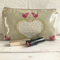 Shabby chic oilcloth make up bag, cosmetic bag with white heart and pink birds