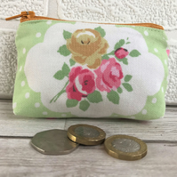 Small purse, coin purse in green and white with yellow and pink Roses