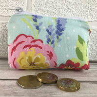 Small purse, coin purse in pale blue with lavender and pink and red flowers