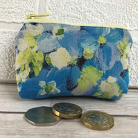 Small purse, coin purse in blue, yellow and cream floral print fabric
