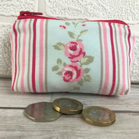 Small purse, coin purse with Roses and stripes pattern in pastel shades