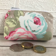 Small purse, coin purse in beige with turquoise and pink Roses