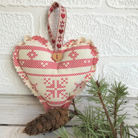 SALE, Scandi Christmas decoration, hanging heart in cream with red snowflake