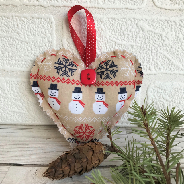 SALE, Snowman Christmas decoration, hanging heart in beige and red with snowmen