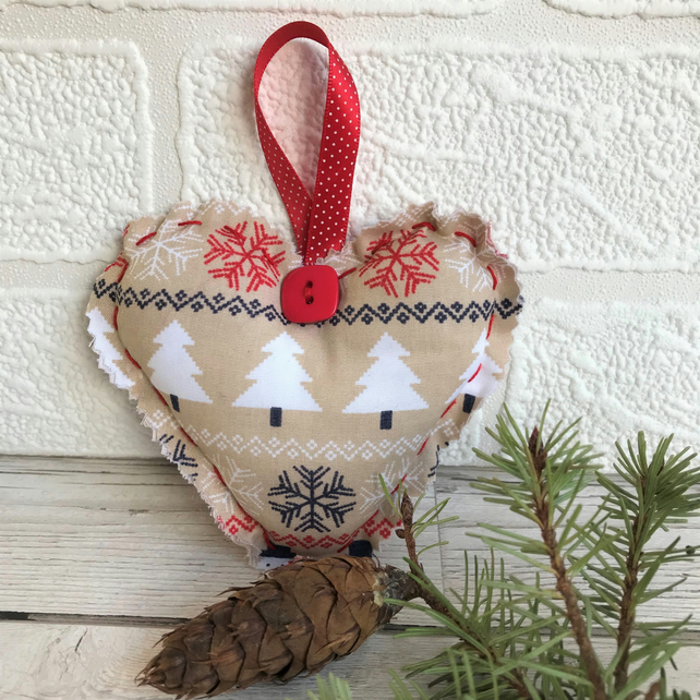 SALE, Christmas decoration, hanging heart in beige and red with Christmas trees