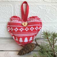 SALE, Scandi Christmas decoration, hanging heart in red with white patterns
