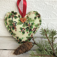 Christmas decoration, Cream and green holly print hanging heart