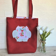 Owl tote bag in red with strawberry print owl