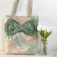 SALE, Leaf pattern tote bag, handbag with large decorative bow