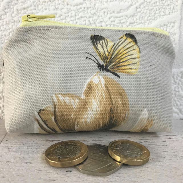 Small purse, coin purse in beige with yellow butterfly and beige flower