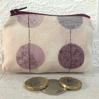 Small purse, coin purse in pink with purple and silver circles