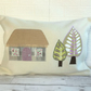 Rustic thatched cottage and trees cushion, rectangular cushion