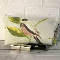 Bird make up bag, cosmetic bag with red, cream and black bird