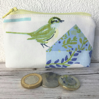 Small purse, coin purse with green bird and blue floral patterned birdhouse