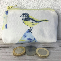 Small purse, coin purse with Blue Tit and blue floral patterned birdhouse