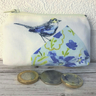 Small purse, coin purse with blue bird and floral patterned birdhouse