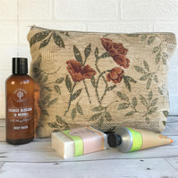 Beige and terracotta textured floral toiletry bag, wash bag