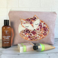 Sleepy Fox toiletry bag, wash bag in pale dusky pink with floral sleeping fox