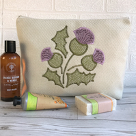 Cream toiletry bag, wash bag with Thistle design