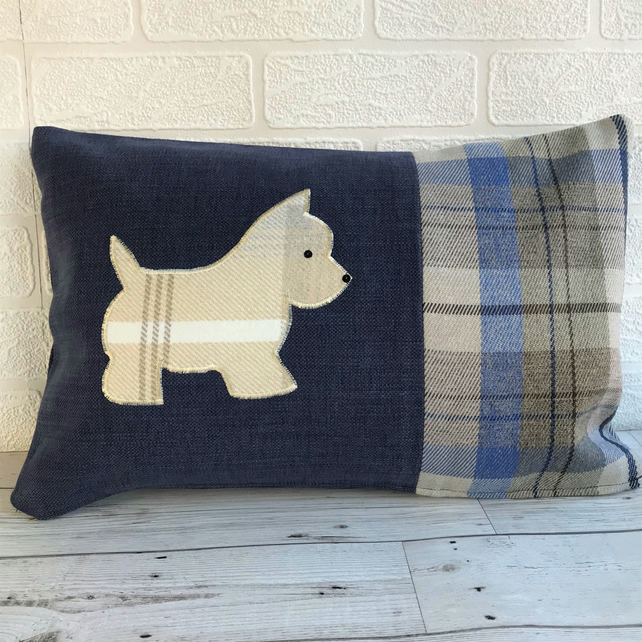 West Highland Terrier cushion in blue with tweed tartan accents