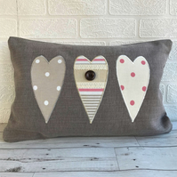 Triple hearts rectangular shabby chic cushion with stripes and polka dot hearts