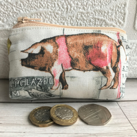 Small purse, coin purse - farmyard print with pink and brown pig