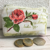 Small purse, coin purse with pink Roses and sage green recipe script
