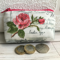Small purse, coin purse with pink Rose and grey recipe script