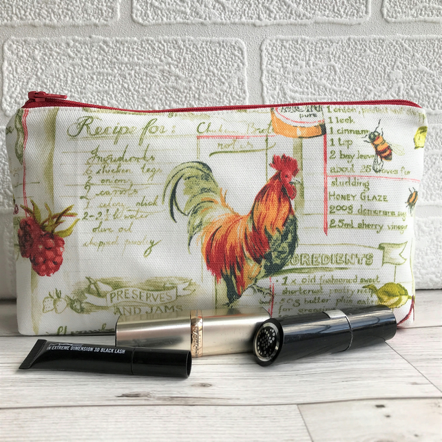 Cockerel make up bag, cosmetic bag in cream with cockerel, raspberries and bees