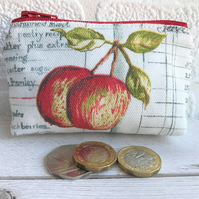Small purse, coin purse in cream with two apples and grey recipe script